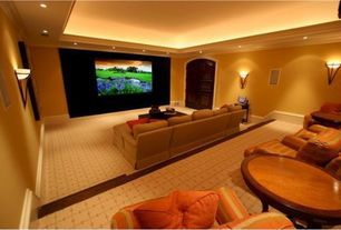 Contemporary Home Theater with six panel door, Carpet, Wall sconce, Paint, Standard height, can lights, Crown molding