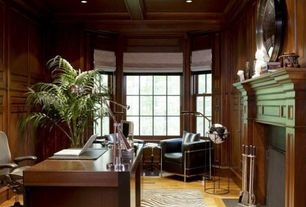 Contemporary Home Office with Casement, Box ceiling, Fireplace, Hardwood floors, Standard height, picture window, can lights
