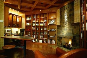 Eclectic Home Office with Laminate floors, stone fireplace, Built-in bookshelf, Box ceiling