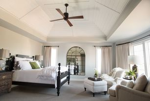 Contemporary Master Bedroom with Carpet, High ceiling, Ballard Designs Tailored Storage Ottoman, Ceiling fan