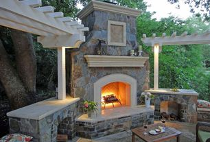 Traditional Patio with Trellis, Milano side table, Paint 1, Fire pit, exterior tile floors, exterior concrete tile floors