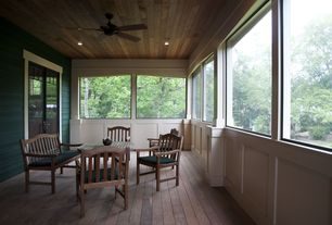 Contemporary Porch with Glass panel door, picture window, Screened porch