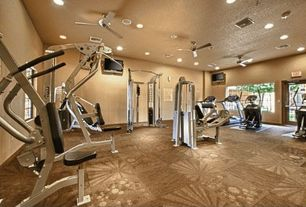 Contemporary Home Gym with tv wall mount, Carpet, French doors, Supermat 11gs tread mat, Ceiling fan
