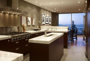 Contemporary Kitchen with Natural stone floors, Paint, Ultracompact surface countertop, can lights, Marble countertops