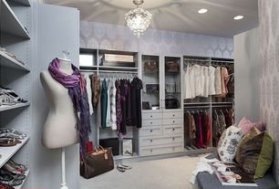 Traditional Closet with Chandelier, interior wallpaper, Carpet, Custom closet built-ins, Paint, Throw pillow