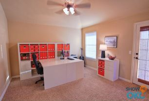 Contemporary Home Office with Carpet, Glass panel door, Ceiling fan