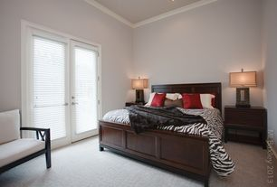 Traditional Guest Bedroom with High ceiling, Promenade 2 Drawer Nightstand - Warm Cocoa, Carpet, Crown molding, French doors