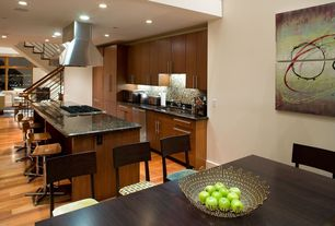 Contemporary Kitchen with full backsplash, Simple granite counters, picture window, can lights, dishwasher, Standard height