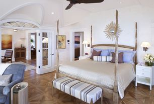 Contemporary Master Bedroom with Ceiling fan, French doors, Sunburst mirror, Privilege end table, Parquet hardwood floor