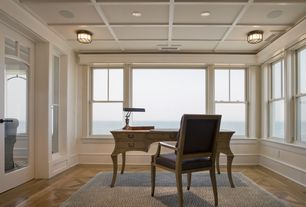 Traditional Home Office with Crown molding, flush light, Box ceiling, Laminate floors, Glass panel door