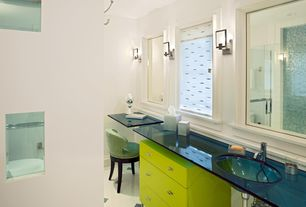 Contemporary Master Bathroom with Shower, European Cabinets, can lights, Standard height, Wall sconce, Glass counters, Flush