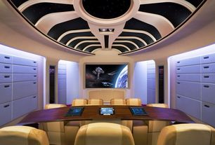 Modern Home Office with Standard height, Carpet, can lights