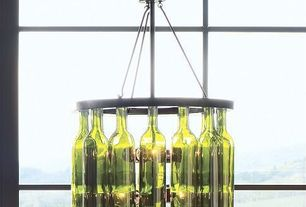 "Contemporary Dining Room with Chandelier, 18"" Bordeaux Wine Bottle Chandelier"