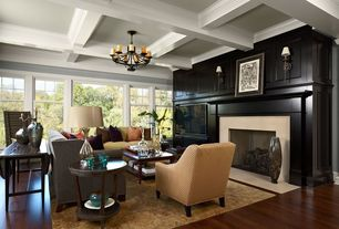 Contemporary Living Room with brick fireplace, Wall sconce, Paint, Hardwood floors, Echelon round side table, Fireplace