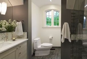 Contemporary 3/4 Bathroom with Epoch Varietals Zinfandel Random Sized Stone and Glass Blend Frosted Mosaic in Multi