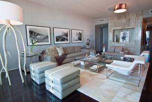 Contemporary Living Room with flush light, Spinneybeck Haired-Hide Rug, Small, Laminate floors, Built-in bookshelf