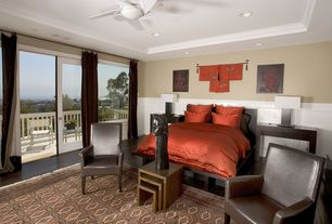 Contemporary Master Bedroom with French doors, Vermont nesting tables, Hardwood floors, Chair rail, Wainscotting, Ceiling fan
