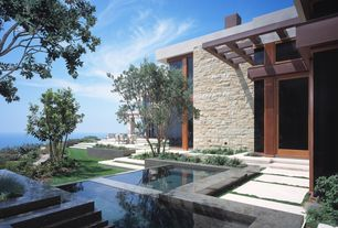 Contemporary Swimming Pool with exterior concrete tile floors, exterior tile floors, Transom window, French doors, Pathway