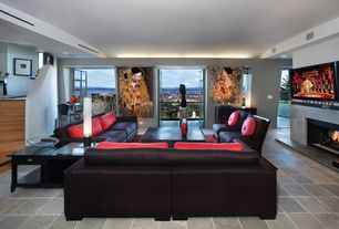 Modern Living Room with Standard height, Concrete tile , Fireplace, can lights, insert fireplace, French doors
