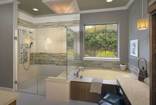 Contemporary Master Bathroom with Shower tower system, Quartz counters, Dupont - corian calm shell, Natural stone mosaic tile