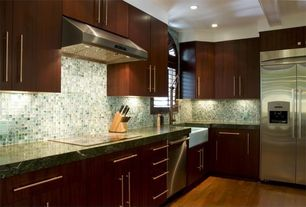 Contemporary Kitchen with Ceramic Tile, Arched window, Pental - verde borgona polished granite, Complex granite counters