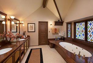 "Country Master Bathroom with Kohler Caxton 17"" Undermount Bathroom Sink with Overflow, Undermount sink, High ceiling, Flush"