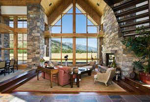 Contemporary Great Room with stone fireplace, Exposed wood ceiling, Elmwood ming console table, Sunken living room