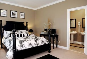 Traditional Guest Bedroom with Crown molding, French Laundry Home Blackbird Toile Bedding, Carpet