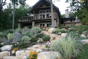 Country Exterior of Home with Woodland setting, Hand chinked beams and posts, Cabin, Appalachian style, Exterior stone steps