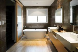 Contemporary Master Bathroom with Double sink, Farmhouse sink, can lights, Casement, Master bathroom, Standard height, Flush