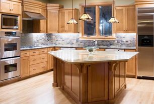 Traditional Kitchen with High ceiling, Pendant light, Flat panel cabinets, Simple granite counters, Slate Tile, Stone Tile