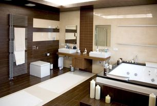 Asian room with Vessel sink, Master bathroom, framed showerdoor, Standard height, Wood counters, Double sink, Towel warmer