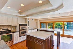 Traditional Kitchen with Kitchen island, Raised panel, Riva bar table walnut, Large Ceramic Tile, Simple granite counters