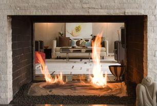 Contemporary Living Room with stone fireplace, TrueModern Dane' Standard Sofa, Fireplace