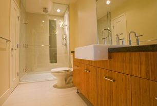Contemporary 3/4 Bathroom with frameless showerdoor, European Cabinets, Flush, Handheld showerhead, Farmhouse sink