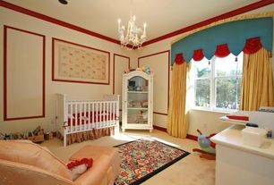 Traditional Kids Bedroom with Standard height, Crown molding, no bedroom feature, Chandelier, Carpet, double-hung window