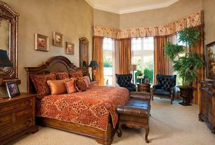 Traditional Master Bedroom with Crown molding, Transom window, French doors, High ceiling, Carpet