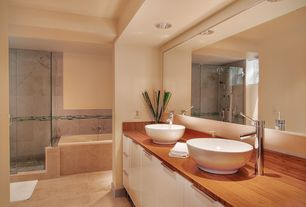 Contemporary Master Bathroom with Round vitreous china vessel sink, VIGO Chrome Finish Bathroom Vessel Faucet