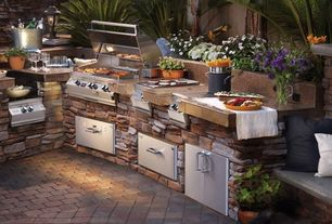 Rustic Patio with Fire Magic/American Outdoor Grill 33830-S Masonry Drawer - 30 in., exterior brick floors, Fence