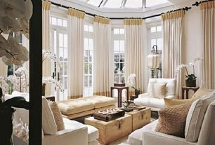 Traditional Living Room with French doors, Hooker furniture coffee table with lift top, Skylight