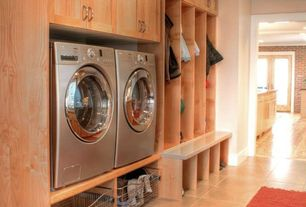 Contemporary Mud Room with Custom cabinetry, Raised washer dryer, Lg washer and dryer - silver, Raised washer and dryer