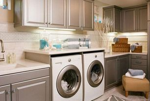 Contemporary Laundry Room with flush light, Carpet, limestone tile floors, Built-in bookshelf, Undermount sink