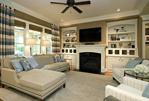 Contemporary Family Room with Crown molding, Recessed lighting, Fireplace, Striped curtains, Layered window treatments, Paint