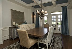 Traditional Dining Room with Restoration hardware thai silk solid french pleat drapery, Laminate floors, Chandelier