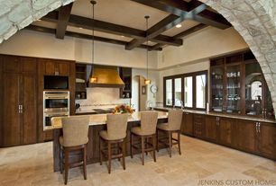 Contemporary Kitchen with limestone tile floors, Large Ceramic Tile, High ceiling, Exposed beam, Kitchen island, Glass panel
