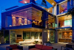 Contemporary Patio with sliding glass door, exterior tile floors, Deck Railing, picture window, Indoor/outdoor living
