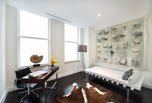 Contemporary Home Office with Hardwood floors, Standard height, double-hung window, can lights