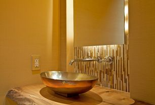 Contemporary Powder Room with Southern trail blend 1/2x 2 marble & glass tile brick pattern, Traditional copper vessel sink
