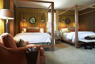 Contemporary Guest Bedroom with interior wallpaper, Carpet
