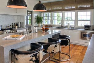 Contemporary Kitchen with U-shaped, Flush, Simple granite counters, French doors, Pendant light, Simple Granite